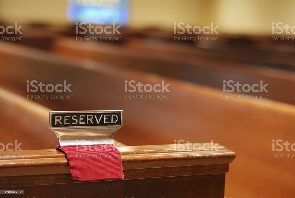 Pew reserved sign royalty-free stock photo