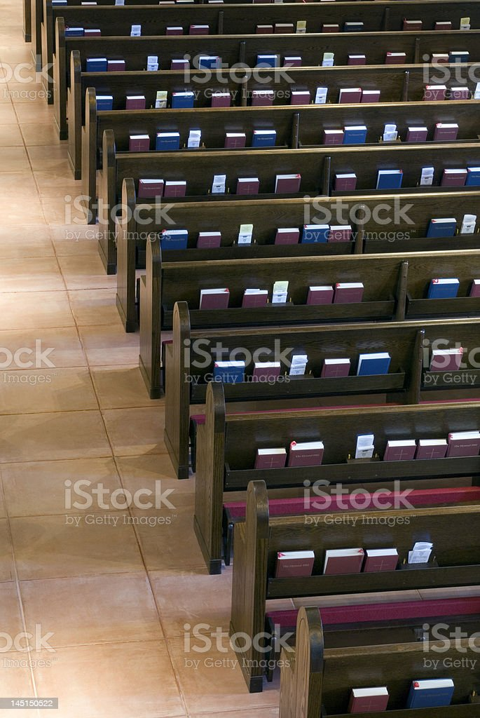 Pews and books royalty-free stock photo