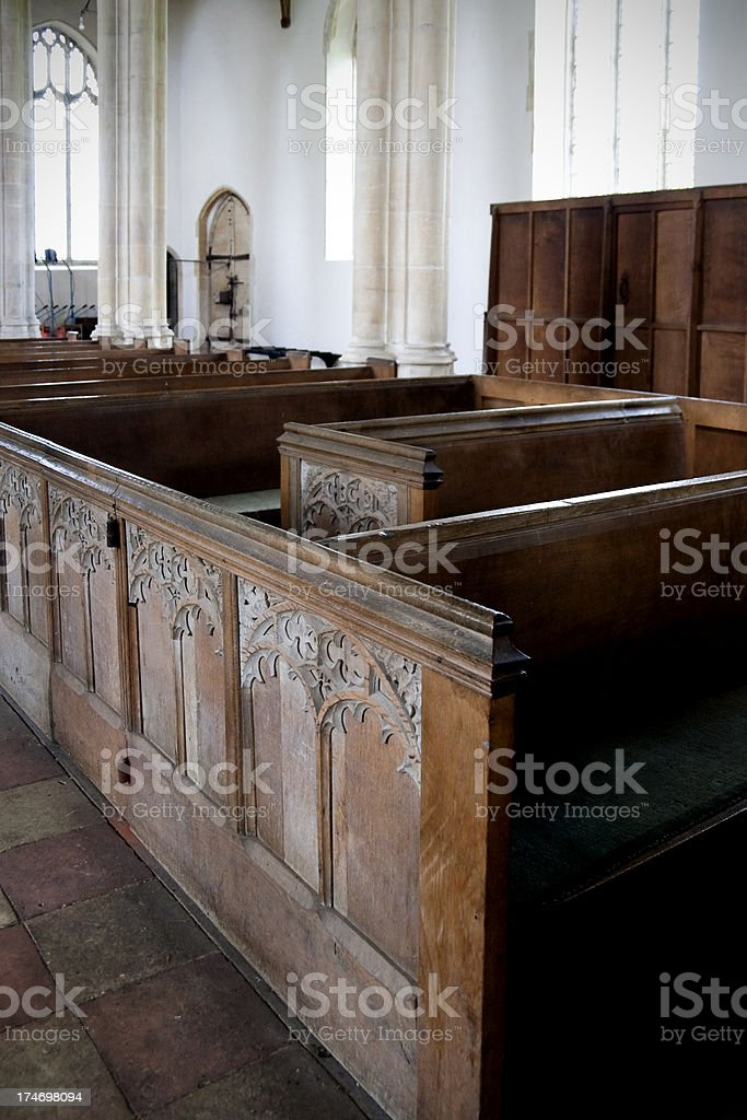 'Pews in Salle Church, Norfolk' stock photo