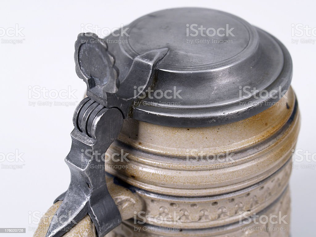pewter lid and thumblift on a german beer stein stock photo