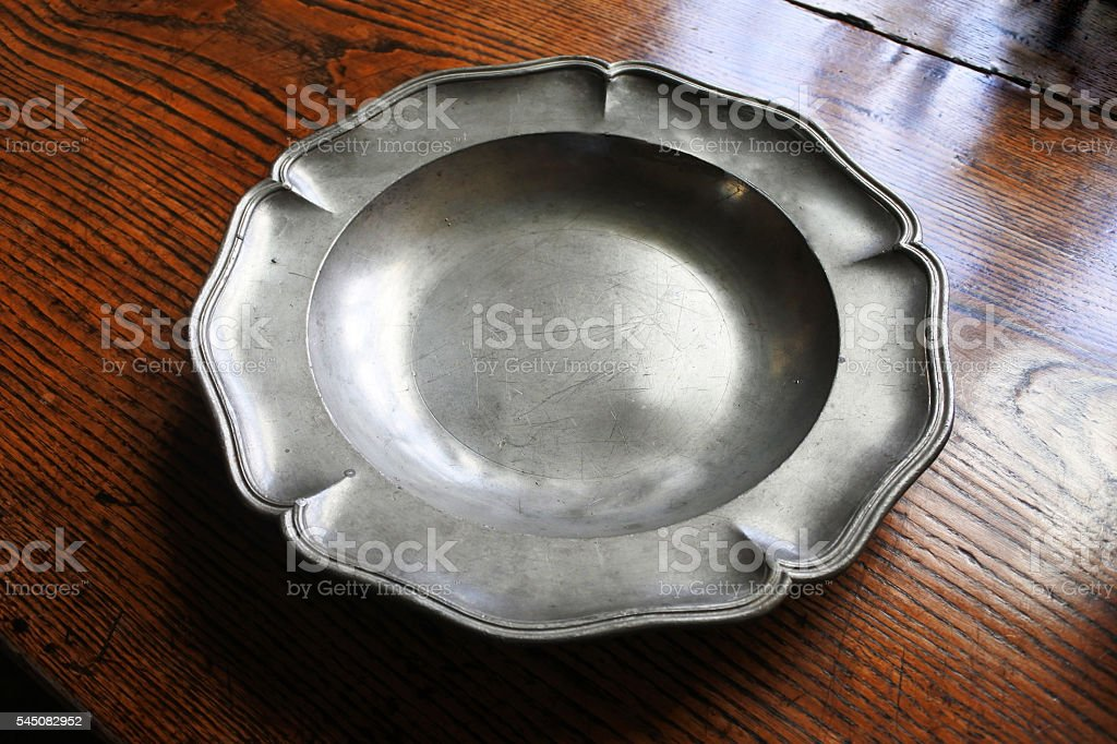Pewter Plate stock photo