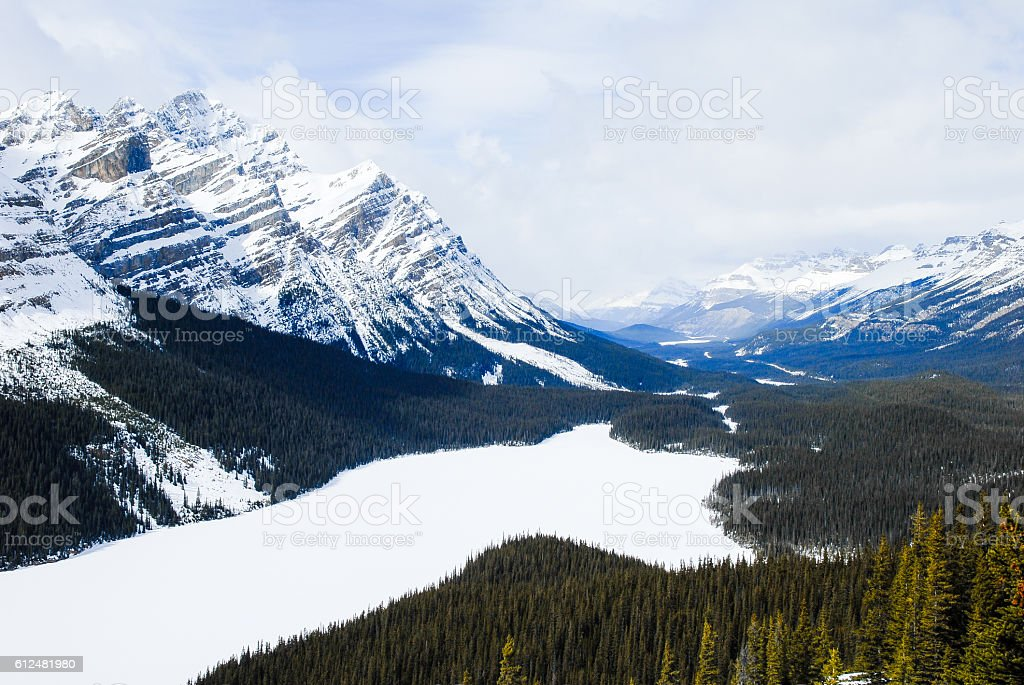 Peyto Lake in winter,Canadian Rockies,Canada stock photo