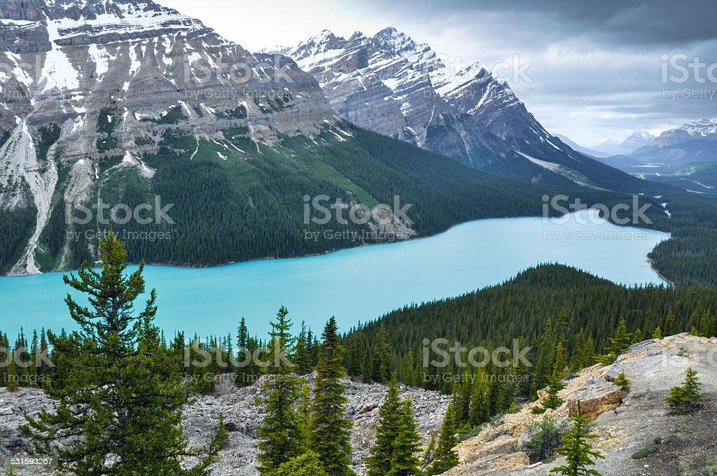 Peyto lake, Rocky Mountains, Canada stock photo