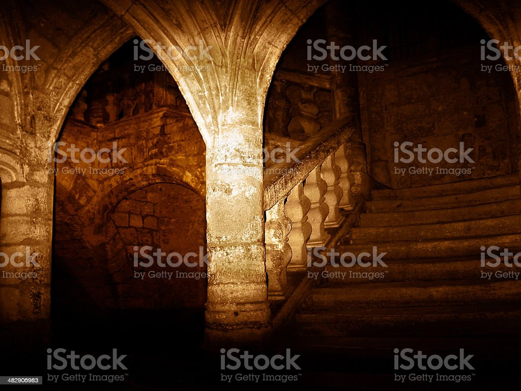 Pezenas: middle age stairs stock photo