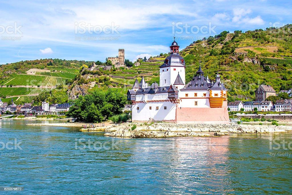 Pfalzgrafenstein Castle, on the Falkenau island in the Rhine river, Germany stock photo