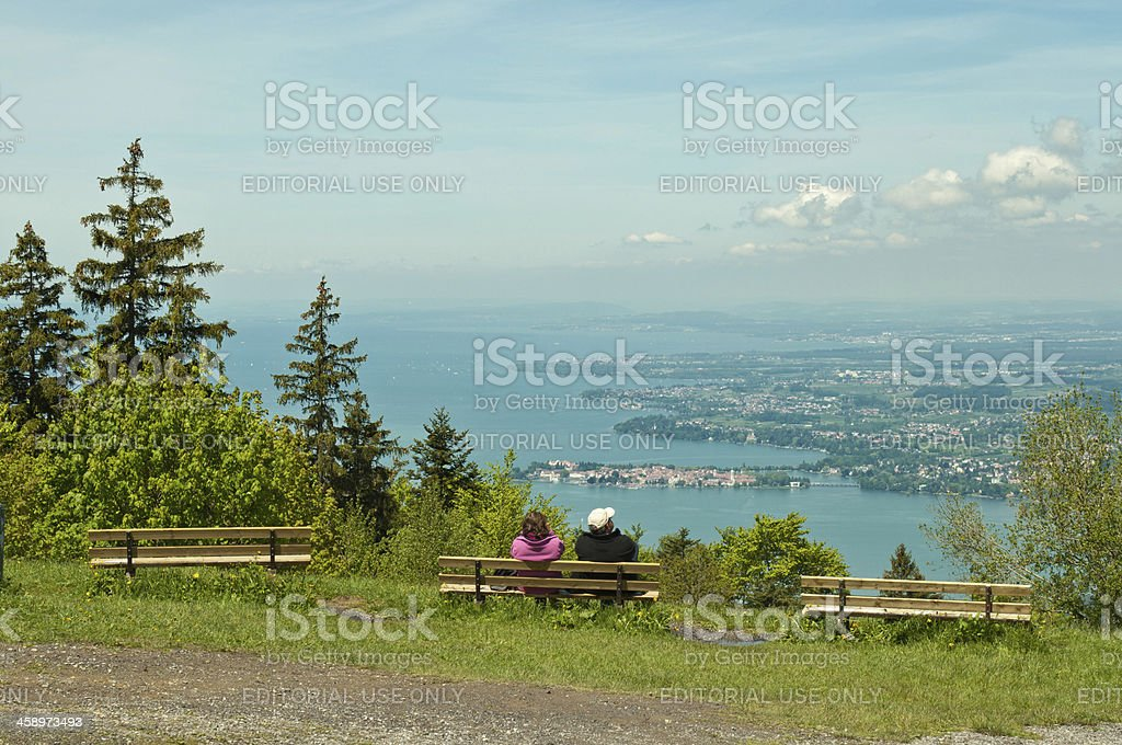 Pfander with view to Lake Constance and Lindau stock photo