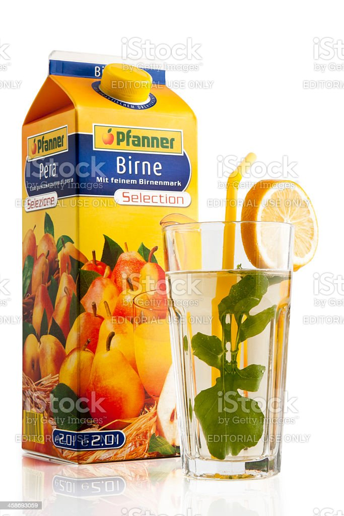 Pfanner Pears Juice Decupe royalty-free stock photo