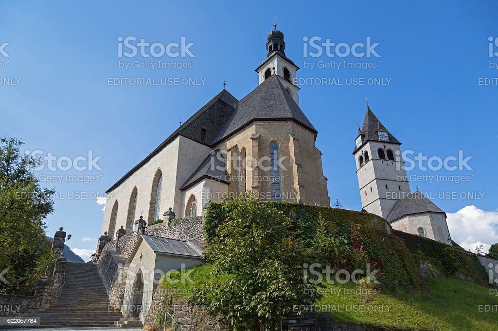 Pfarrkirche St. Andreas and Church of Our Lady, Kitzbuhel, Austria stock photo