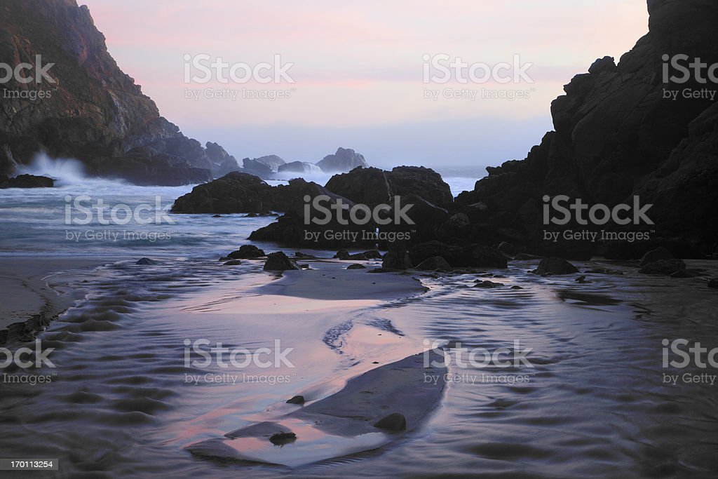Pfeiffer Beach Rocks, Purple Sand and Sunset royalty-free stock photo