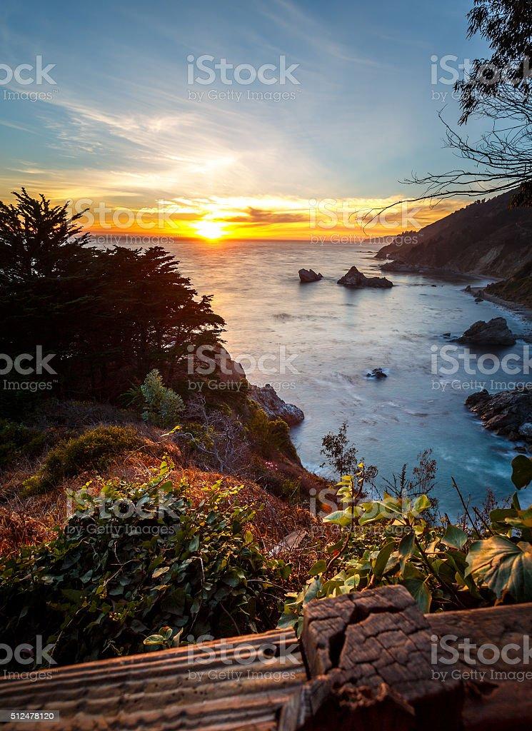Pfeiffer Big Sur State Park coastal sunset stock photo