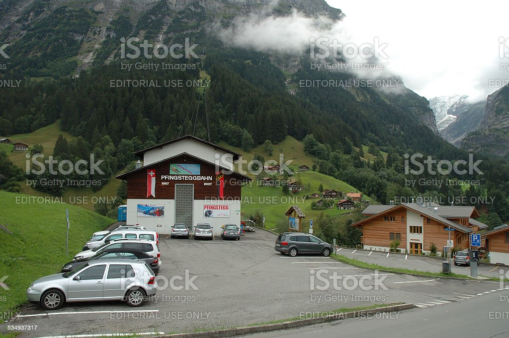 Pfinstegg cable car in Grindelwald in Switzerland stock photo