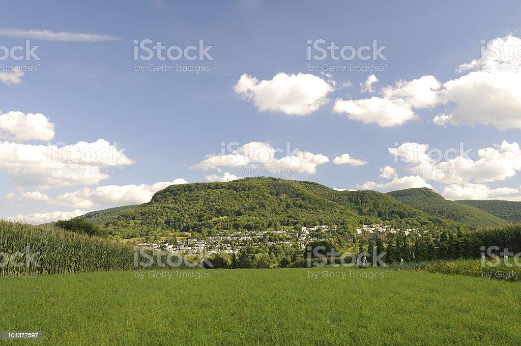 Pfullingen Summer View to Green Mountain Ahlsberg stock photo