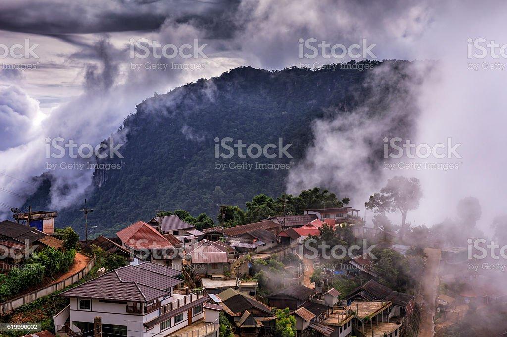 Pha Hi village, Mae Sai, Chiang Rai, Thailand. stock photo