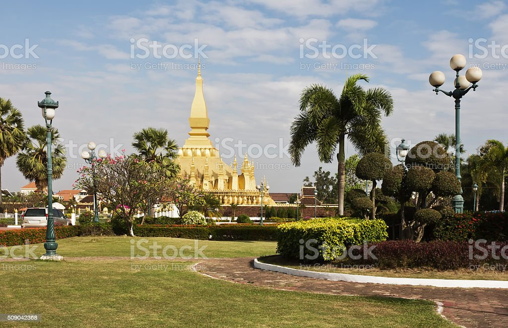 Pha That Luang in Vientiane stock photo
