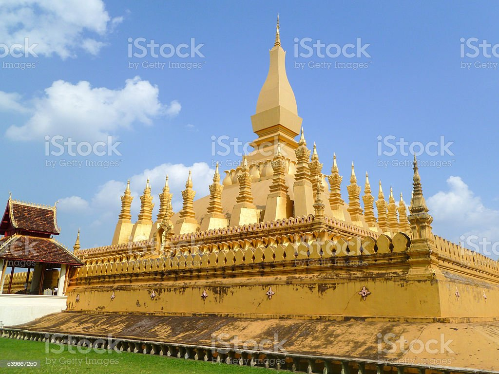 Pha That Luang Side View, Vientiane, Laos stock photo