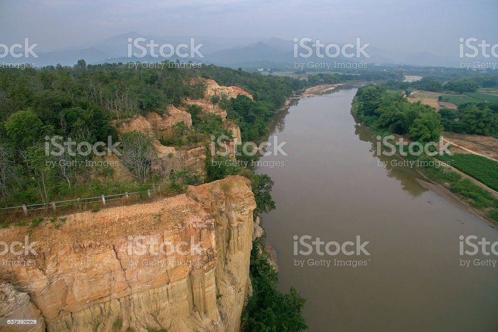 Pha Wing Chur canyon ,Chiang Mai,Thailand by drone stock photo
