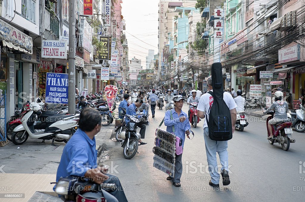 Pham Ngu Lao Street In Ho Chi Minh City, Vietnam royalty-free stock photo
