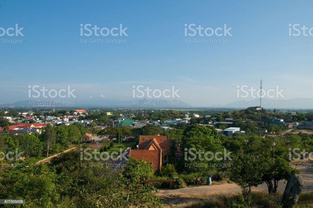 Phan Rang city suburb from Po Klong Garai, Cham temple, Ninh Thuan near Phan Rang city, Vietnam stock photo
