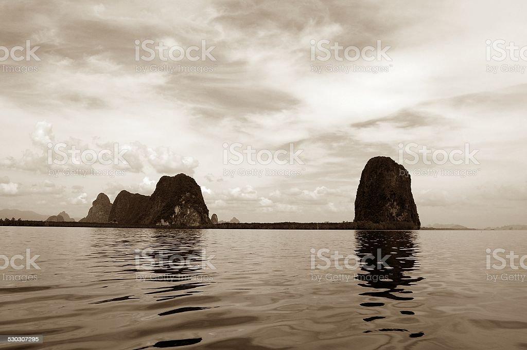Phang-Nga bay limestone rocks, Thailand stock photo