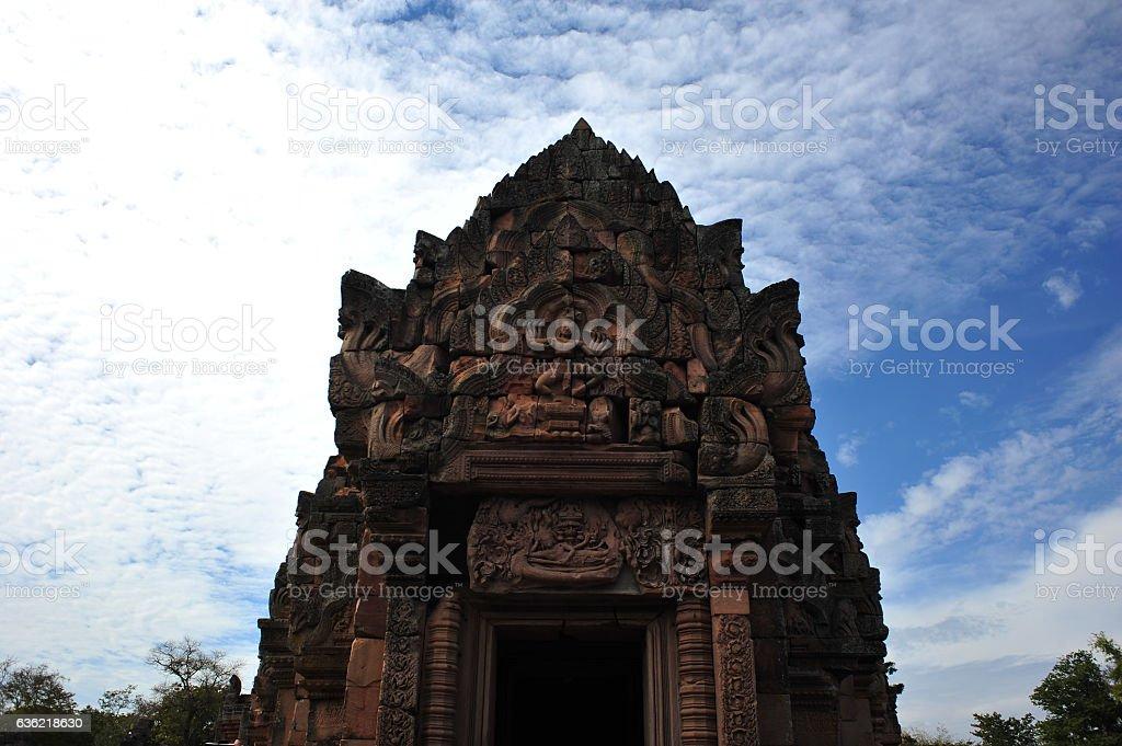Phanomrung historical park is the stone castle in buriram thailand stock photo