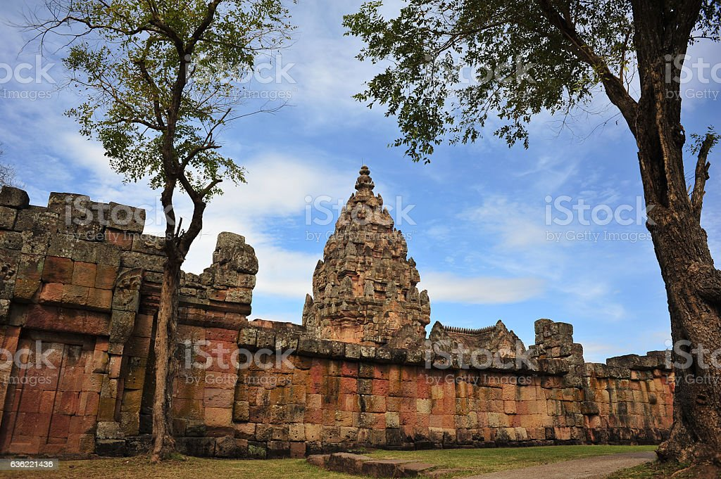 Phanomrung historical park is the stone castle in buriram thailand stock photo