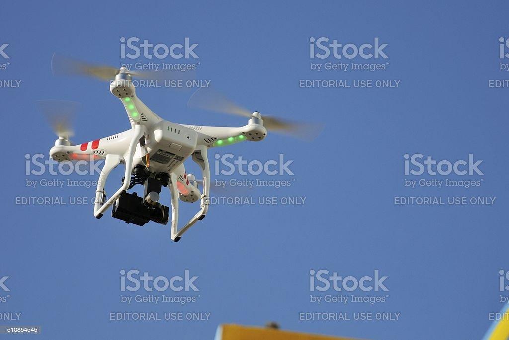 DJI Phantom 2 Quadcopter drone and gopro stock photo