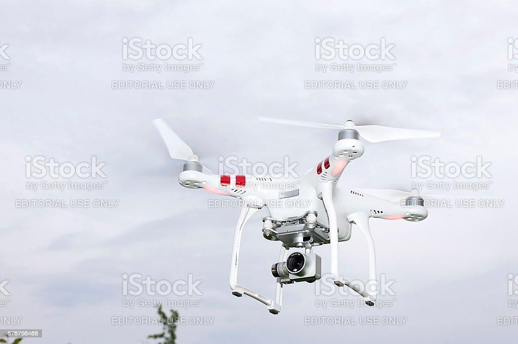 DJI Phantom 3 drone in flight stock photo