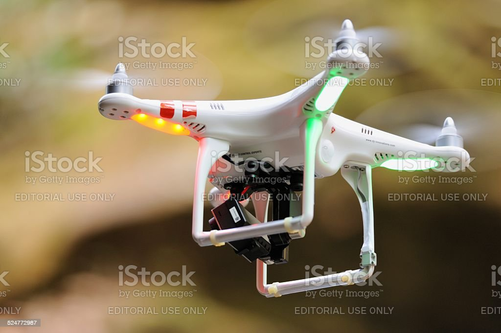 DJI Phantom drone close up stock photo