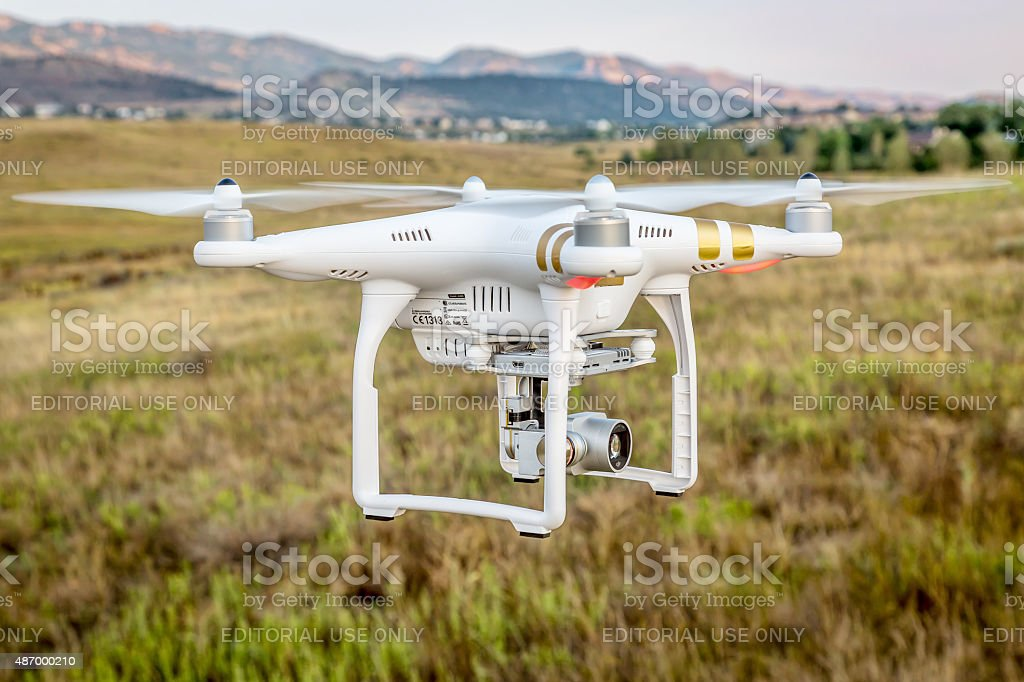 Phantom drone flying with camera stock photo