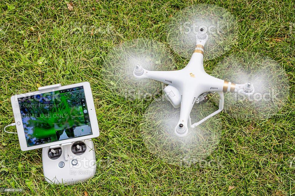 Phantom heaxacopter drone taking off stock photo