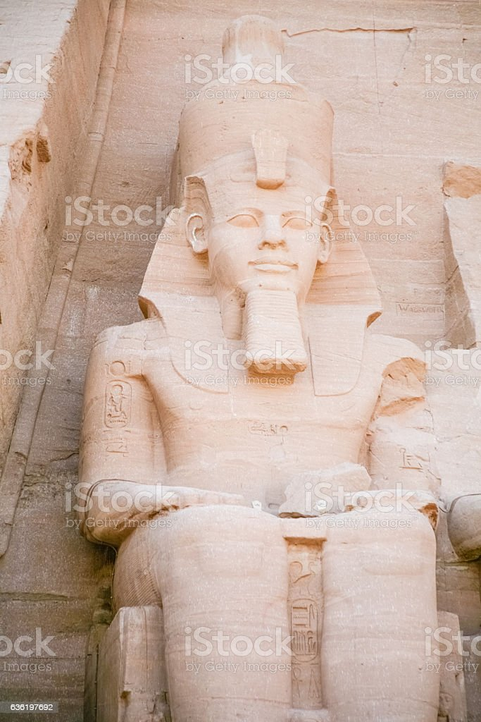 Pharaoh sculpture in Abu Simbel stock photo