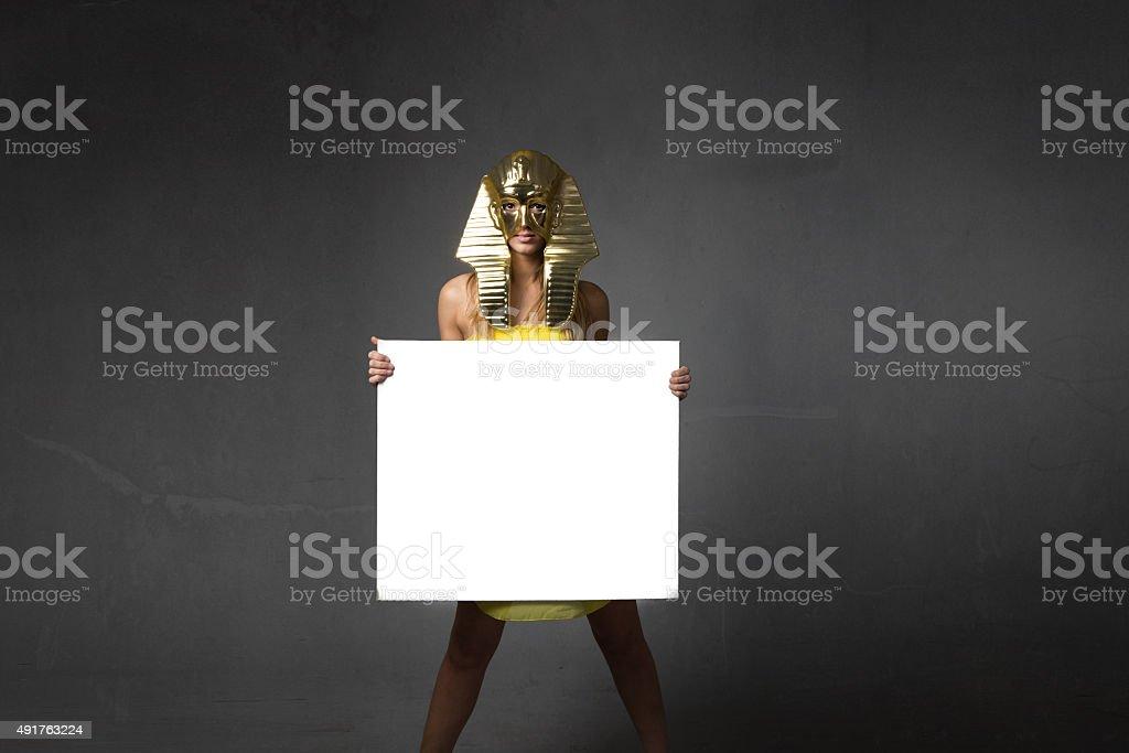 pharaoh woman with white empty board stock photo
