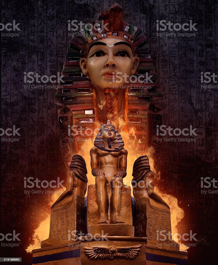 Pharaoh`s tomb statues. stock photo