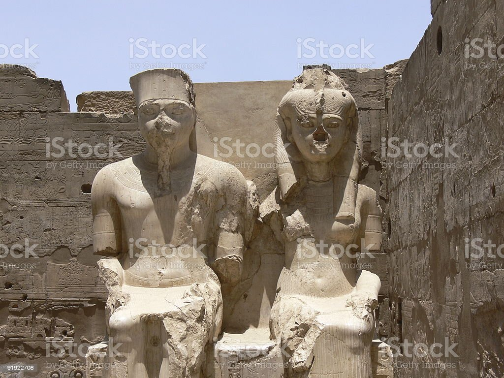 Pharaon and his wife stock photo