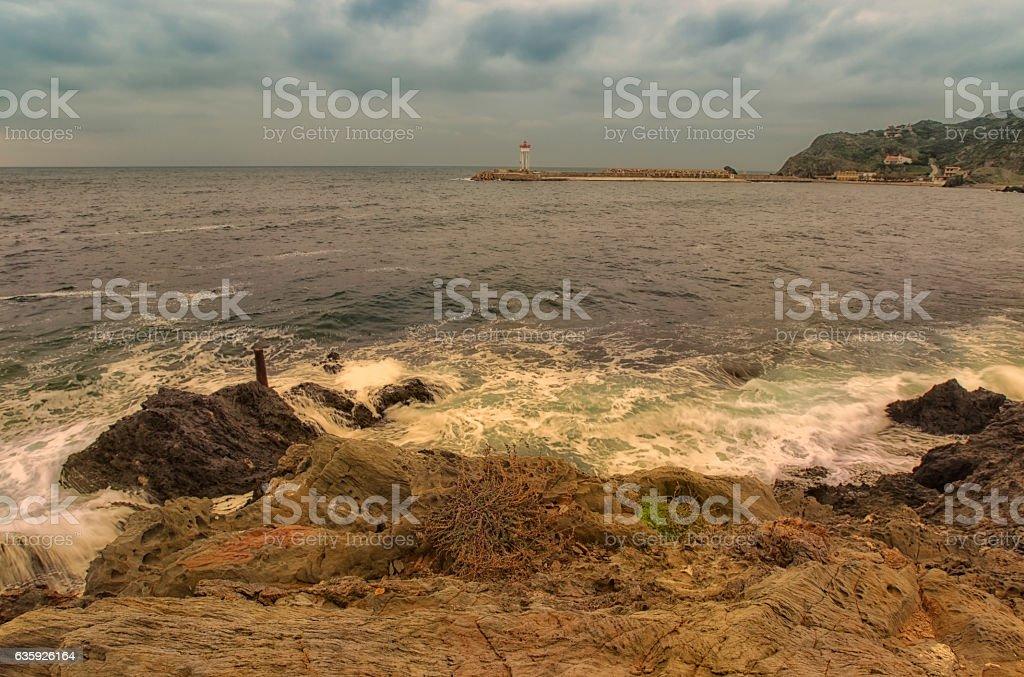 Phare de Port Vendres stock photo