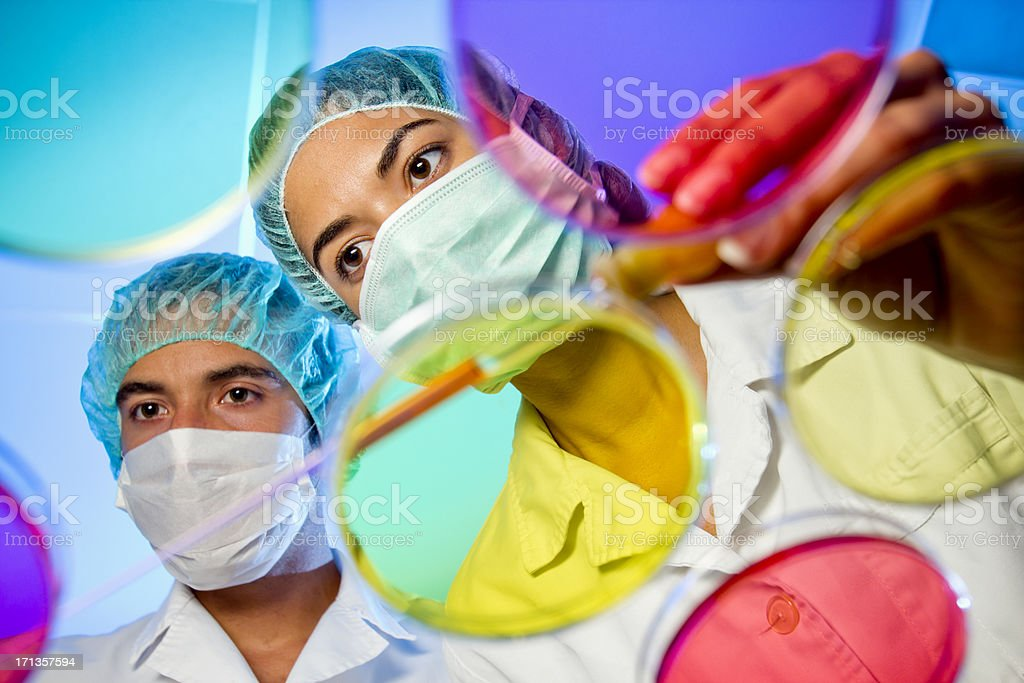 Pharmaceutical laboratory researchers working on a new medication royalty-free stock photo