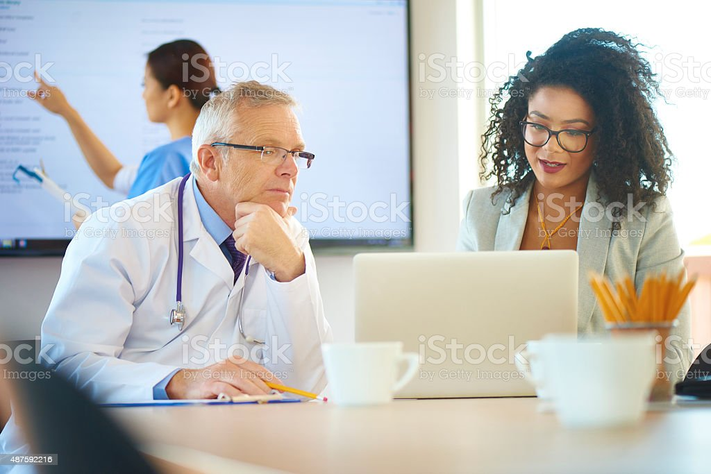 pharmaceutical saleswoman presentation stock photo