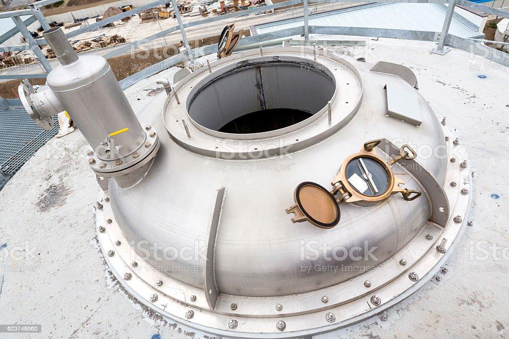 Pharmaceutical technology equipment tank facility stock photo
