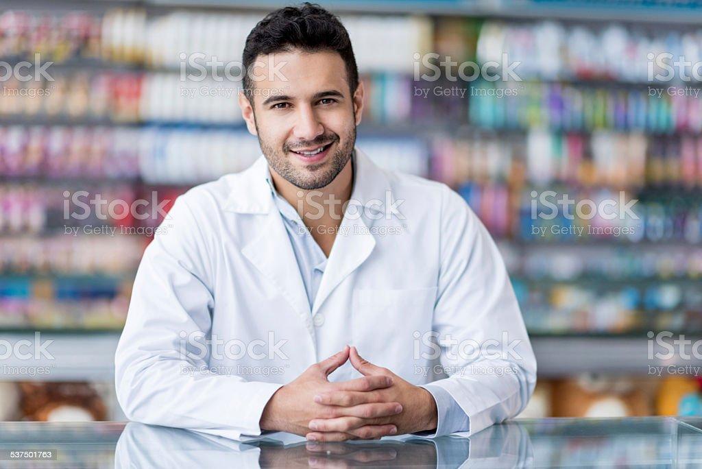 Pharmacist at the drugstore stock photo