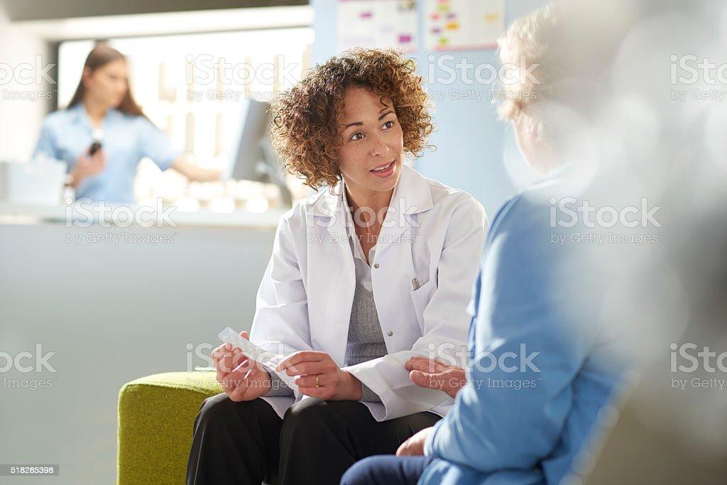 Pharmacist consultation stock photo