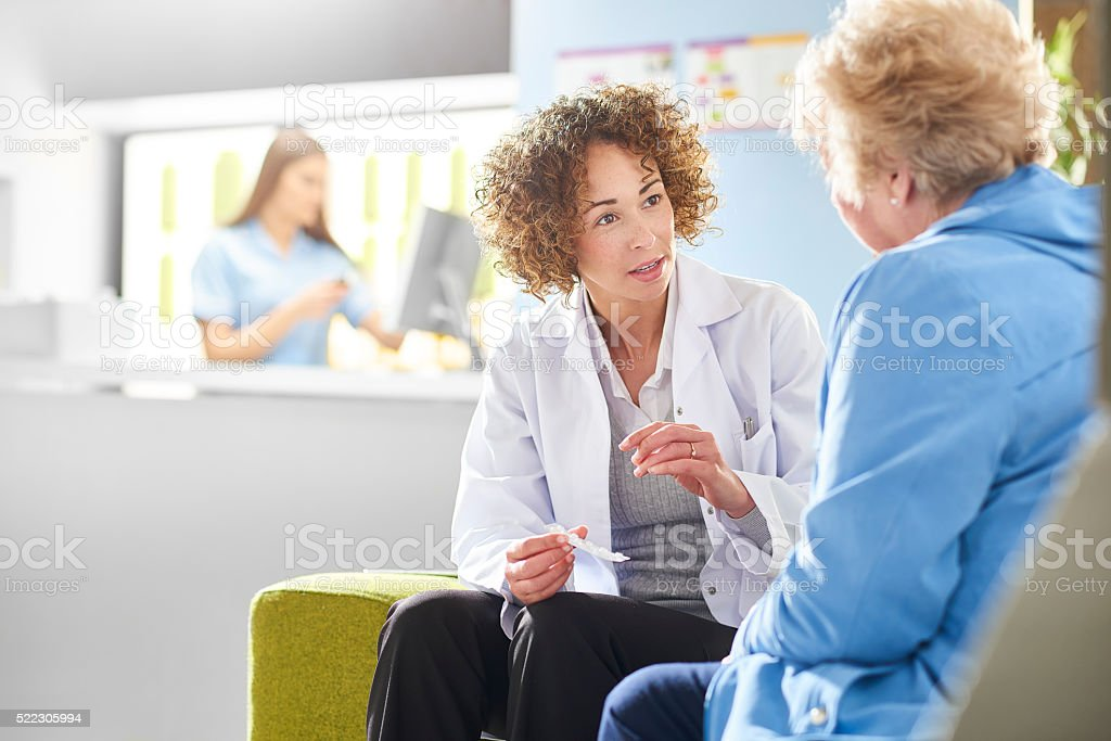 pharmacist consultation stock photo