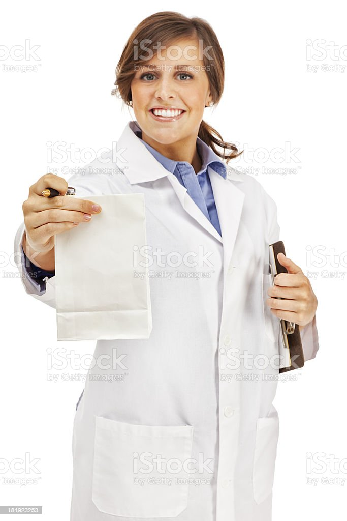 Pharmacist with Prescription Bag royalty-free stock photo