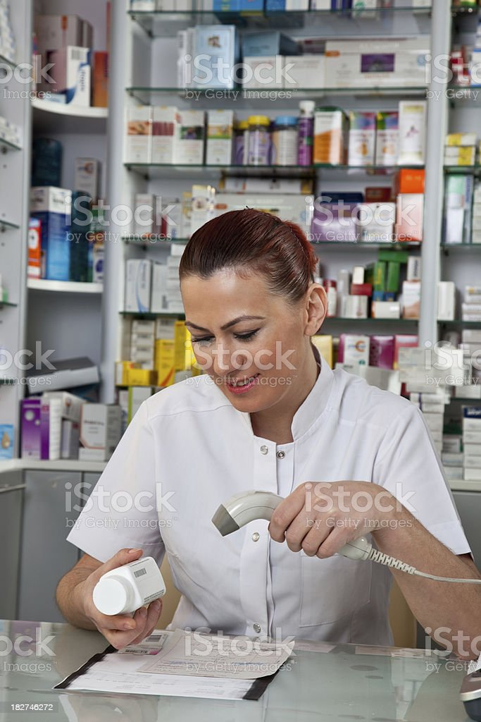 Pharmacy - Barcode reading royalty-free stock photo