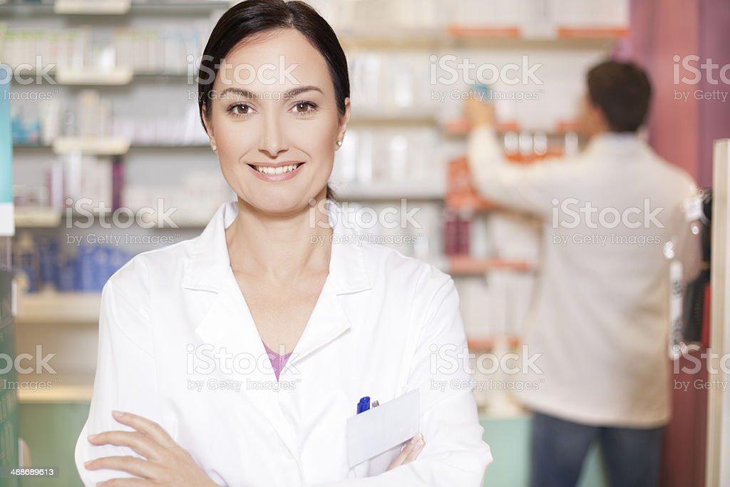Pharmacy chemist ready to help royalty-free stock photo