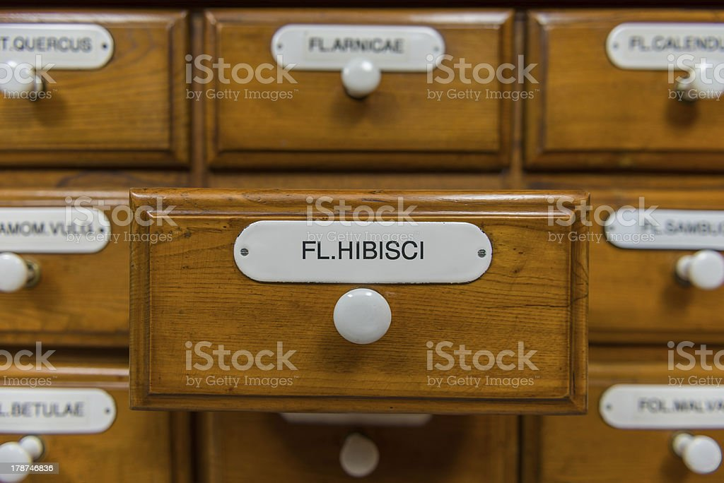 pharmacy drawers royalty-free stock photo