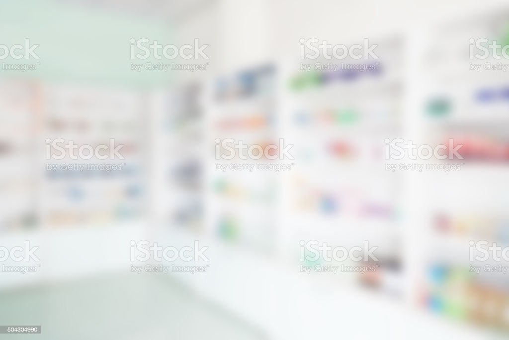Pharmacy interior with blurred background stock photo