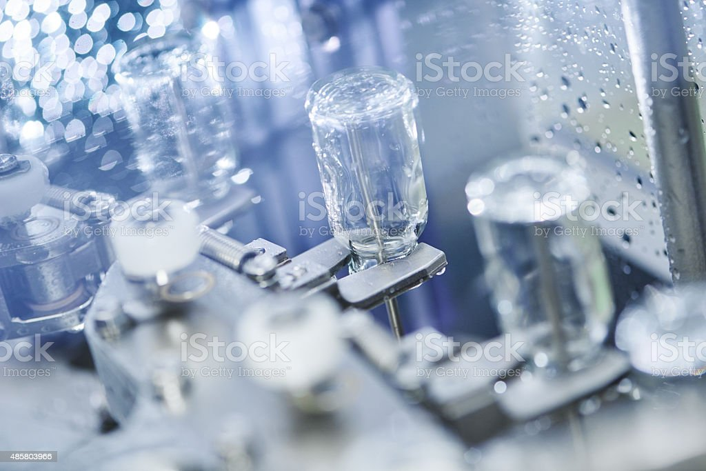 pharmacy medicine glassware at washing stock photo
