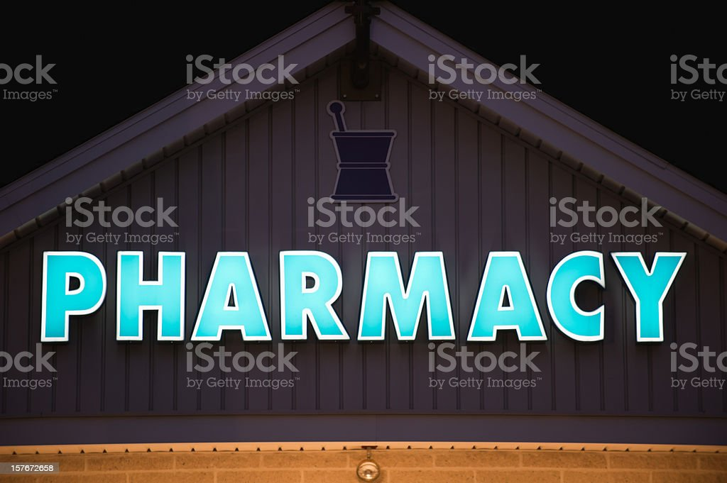 Pharmacy Sign at Night, Modern Storefront stock photo