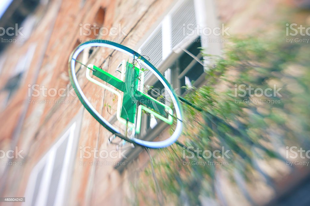 Pharmacy symbol with blur photographic effect stock photo