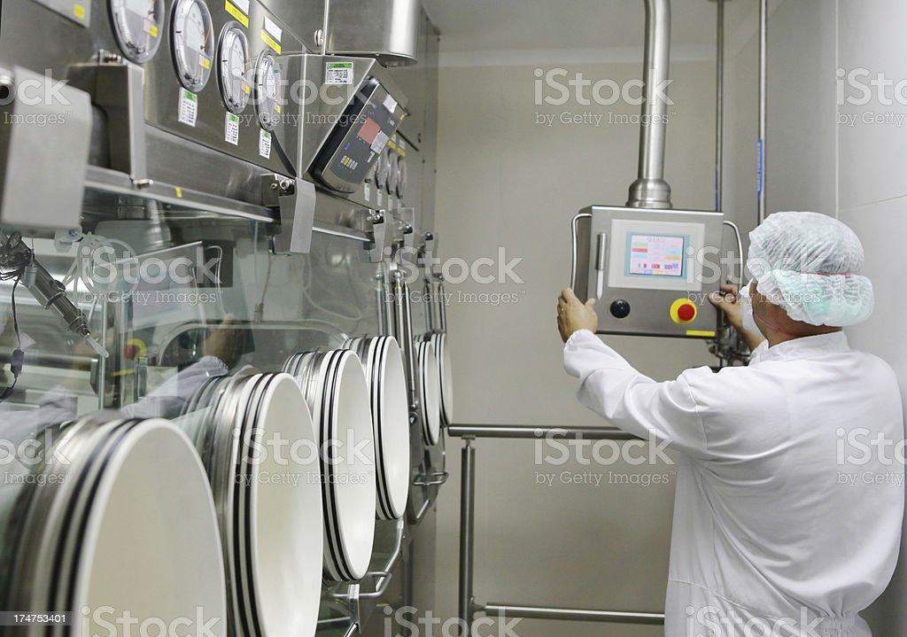 Pharmacy Technician set  glove box  machine stock photo